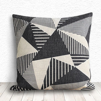 Geometric Pillow Cover, Pillow Cover, Geometric Pillow Cover, Linen Pillow Cover 18x18 - Printed Geometric - 106