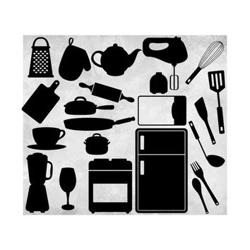 Black Silhouette Kitchen Clipart Clip Art Graphics Kitchen Appliances Microwave Refrigerator Stove Blender Mixer Whisk Scrapbooking Elements