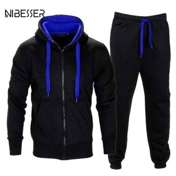 NIBESSER 2 Piece Set Long Sleeve Zipper Hooded Jacket Suit Men Thicken Winter Patchwork Jackets Hiphop Suit Men's Tracksuits