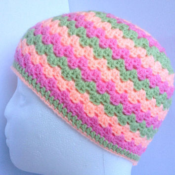 Girls Beanie Hat, Ages 4 to 8, Pink and Green Hand Crocheted Hat, Retro Style Granny Square Cap, Girls Winter Hat, Handmade Stripe Beanie