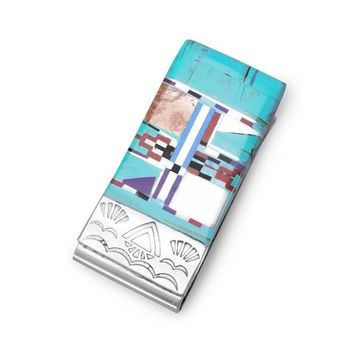 Stainless Steel Money Clip w/ Multicolor Inlay