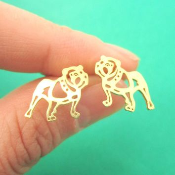 Unique Bulldog Dog Shaped Cut Out Stud Earrings in Gold | Animal Jewelry