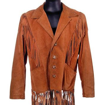 Mens Vintage Tan Suede Coat with Fringes 1970s 42 Chest