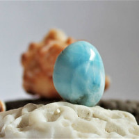 Larimar free form cab wavy sea blue dolphin cabochon pectolite beach Caribbean marbled stone 2g 10ct ooak bohemian