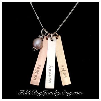 Mixed Metal 3 Name Bar Necklace. Sterling Silver, 14k Gold Filled, Rose Gold Filled Name Necklace, Hand Stamped 3 Three Name Bar Necklace.