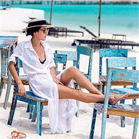 New Arrivals Beach Cover up Solid Chiffon Swimwear Ladies Walk on The Beach Sexy Beach Cover up Saida de Praia Beach Wear