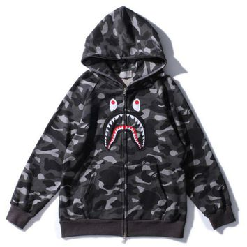 ONETOW Fashion BAPE SHARK  Men personality camouflage shark long sleeve zipper hooded coat