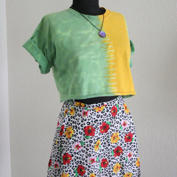 Upcycled green and yellow tie dye crop top - deconstructed tee