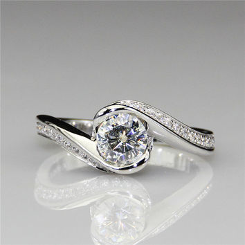 Round 0.6ct Lab Created Diamond Rose Floral Flower Style 14k White Gold Engagement Ring Esdomera Moissanites Ring