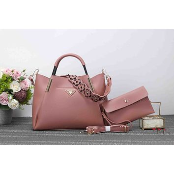 Prada Popular Women Pure Color Flower Strap Leather Satchel Bag Shoulder Bag Handbag Crossbody Set Two Piece Pink I-XS-PJ-BB
