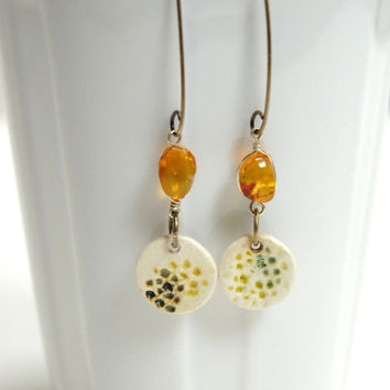 Amber clay dangle,Clay amber earrings,November birthstone,yellow dangle earings,pottery earrings,ceramic earrings,yellow clay earrings,