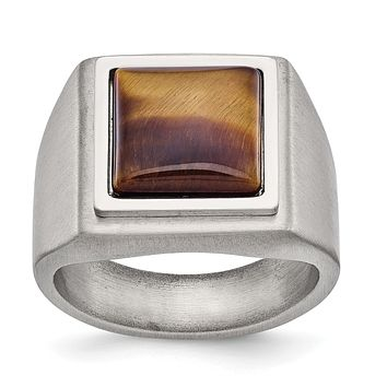 Stainless Steel Brushed Finish Tiger's Eye Signet Ring
