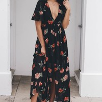 Dream On Black Mimosa Chiffon Dress