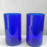 Handcrafted Upcycled Beautiful Cobalt Blue Bottle Drinking Glasses Set