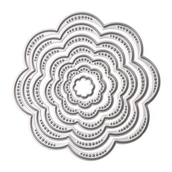 7Pcs Set Flower Circles Metal Cutting Dies Stencils DIY Scrapbook Embossing Album Paper Card Craft