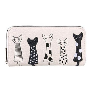 Nawoshow Women Adorable Faux Leahter Animal Catroon Cat Wallet Phone Clutch Bag