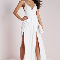 CHEESECLOTH FLORAL APPLIQUE STRAPPY MAXI DRESS WHITE