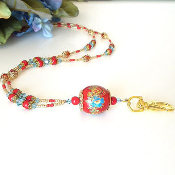 Beaded ID Badge Lanyard. Large Red Wooden Bead.Blue Flowers.Red Round Beads.Blue Crystals. Gold Filigree