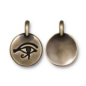 94-2503-27 - TierraCast Eye Of Horus Charm, Antique Brass | Pkg 2