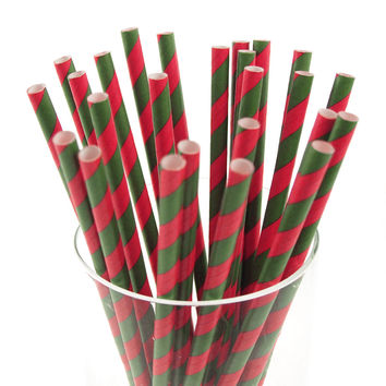 Candy Striped Paper Straws, 7-3/4-inch, 25-pack, Hot Pink/Moss