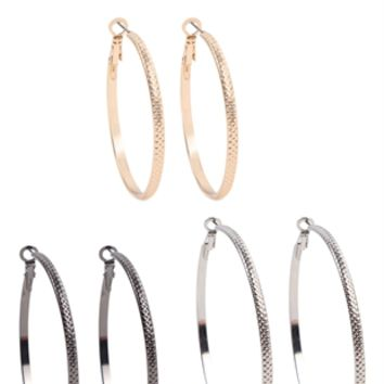 Set of Six Earrings with Metal Hoops and Stone Studs