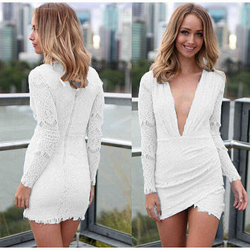 White Deep V-Neck Long Sleeve Wrap Lace Mini Dress