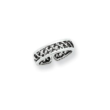 Antiqued Twisted Rope Toe Ring in Sterling Silver