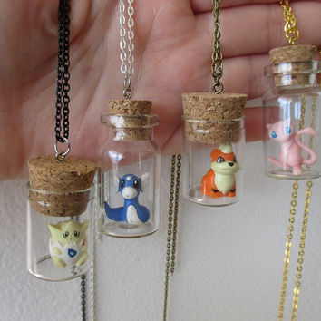 Pokémon Necklace - MEW, Growlithe, Dratini & Togepi - TOYS in a Bottle -Pokémon bottle necklaces