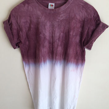 Dip Dye Tie Dye T-shirt Unisex, Purple, Grey & Yellow