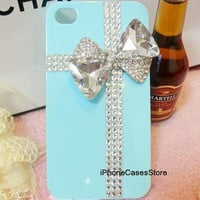 iphone 5 case tiffany box iphone case crystal cross iphone 4 case Bling rhinestone bow iphone 4 cover tiffany blue iphone 5 case 4s ribbon