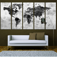 Black and white wall art world map push pin with countries canvas print, push pin travel map wall art print, extra large wall art  t578