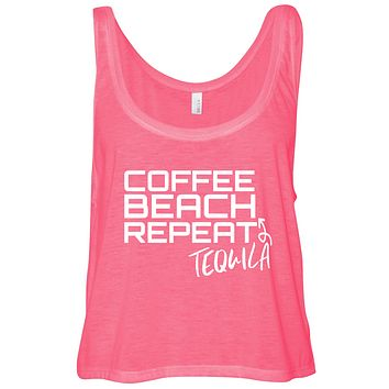 Coffee Beach Tequila Repeat Cropped Flowy Tank Top