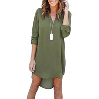 Women's Plunging Neck Chiffon Dress Long Sleeve Casual Tunic Shirt Dress Irregular Front Short Vestidos S-3XL