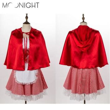 DCCKHY9 MOONIGHT Halloween Costumes For Women Sexy Cosplay Little Red Riding Hood Costumes Fantasy Game Uniforms Fancy Dress Outfit