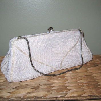 SALE - Vintage 1950s White Beaded Purse made in Belgium Formal Clutch