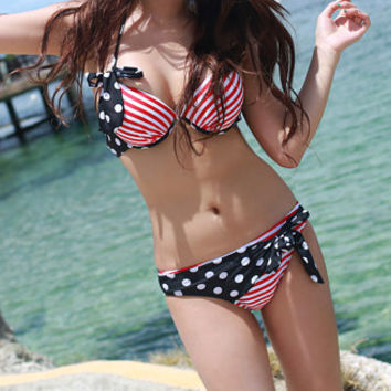 American Flag Stars and Stripes Red White and Blue bikini with ribbon tie details - XS/S