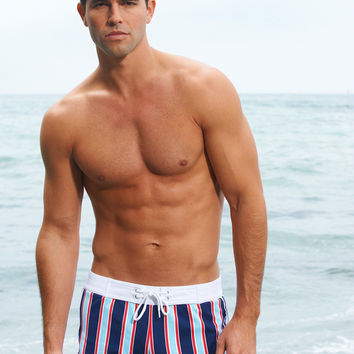 Sauvage Mens Swimwear - Textured Stripe Swim Shorts