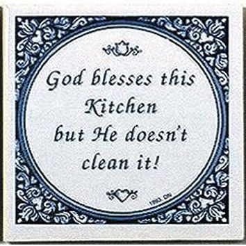 Decorative Wall Plaque: God Blesses Kitchen..