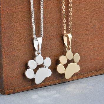 Silver or Gold Tiny Dog Cat Paw Print Charm Pendant Necklace