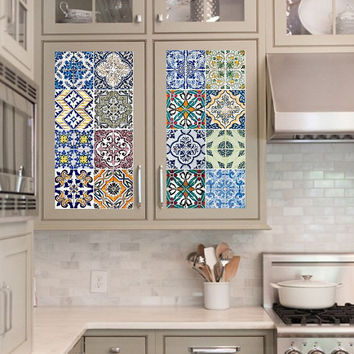 Vinyl decal sheet - Tile Decals - Tile decals for Kitchen or Bathroom Mexico, Morocco, Portugal, Spain, Mosaic #5