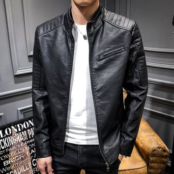 Fall 2018 new men leather jacket Cultivate one's morality leisure leather collar pu and fleece jacket trend