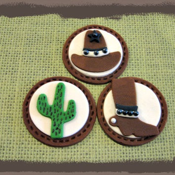 Cowboy Fondant Cupcake Toppers! Set of 12 (one dozen)