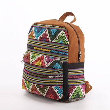 Ethno Backpack, Knapsack, Travel Backpack, University Backpack, Spring summer bag, Leisure backpack, Hill tribe, Ethic Hand Woven Textiles