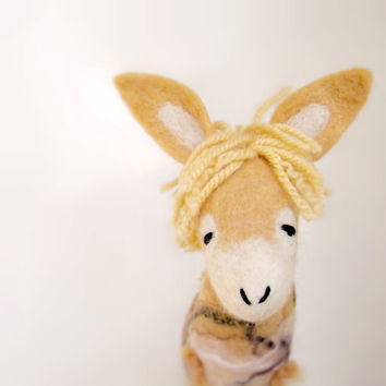 Natalia - Golden Felt Donkey. Art Toy. Felted Marionette Animals Toys, mteam. caramel cream neutral gold sunny sun. MADE TO ORDER