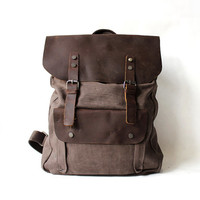Genuine Cow leather bag/ canvas bag/ BACKPACK/ Leather Briefcase /vintage retro school bag / Laptop bag / Men's leather canvas Bag