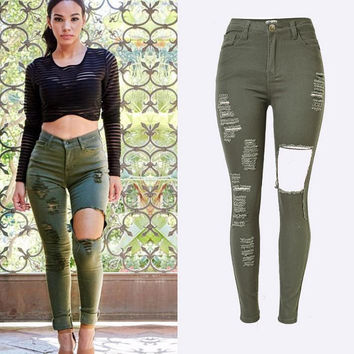 High Waist Elastic Plus Size Holes Slim Hot Jeans