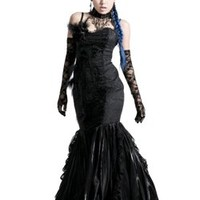 Peacock Black Feather Dress - Gothic clothing, Platform boots, creepers shoes, platform shoes, gothic boots and shoes.