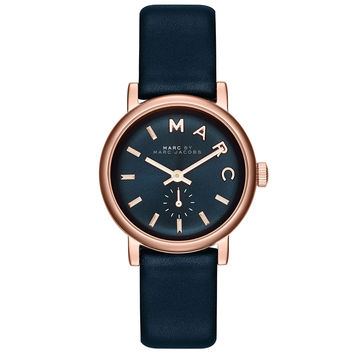 Marc by Marc Jacobs MBM1331 Women's Baker Mini Navy Blue Dial Rose Gold Steel Navy Blue Leather Strap Watch