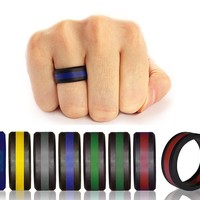 Men Women Wedding Ring Rubber Silicone Band Active Sport Gym Fashion Gift S