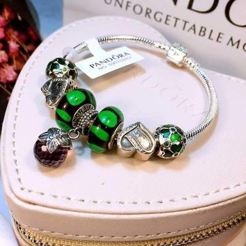 Authentic Pandora Women Fashion Crystal Plated Bracelet Jewelry 925 Sterling Silver Inspirationa Green